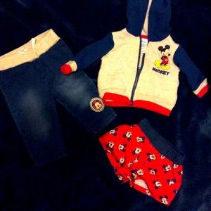 Mickey Mouse pants and jacket and beach shorts